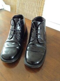 MENS BLACK, LEATHER ANKLE, LACE UP BOOTS_SIZE 8