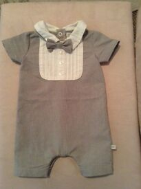 Mamas and papas boys newborn outfit with dickiebow