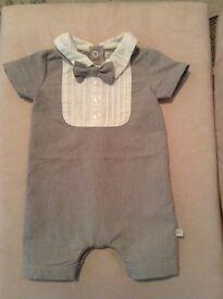 Mamas and papas boys newborn outfit with dickiebow