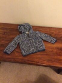 Next boys chunky knit lined blue zip up cardigan age 12–18 months