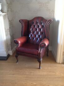 Chesterfield Style Leather Armchair. Wing back. Wooden legs. Study. Office. Vintage. Eclectic.
