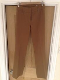 Tan Slim Bootcut Trousers-Size 8 (fits 6-8) W26 L32