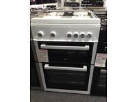 Beko 60cm white gas cooker with glass lid £310 new/graded 12 month Gtee