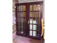 2x Internal wooden glazed doors