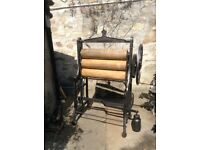 Cast iron, three roller, free standing mangle