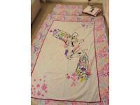 2 X girls single bed set, curtains, cushion & bunting