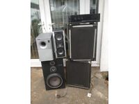 Amplifier, speakers and audio equipment for sale as a job lot