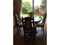 Round Extendable Mahogany Dining Table & 4 Chairs