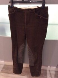 Polo Ralph Lauren brown cord & suede jodhpur style trousers size 8