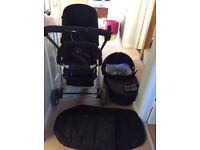 icandy cherry pram, carry cot & accessories