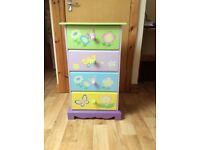 Chest of drawers & revolving bookcase: suit girls/toddler bedroom in pastel colours