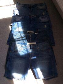 Four pairs of ladies denim shorts size 12