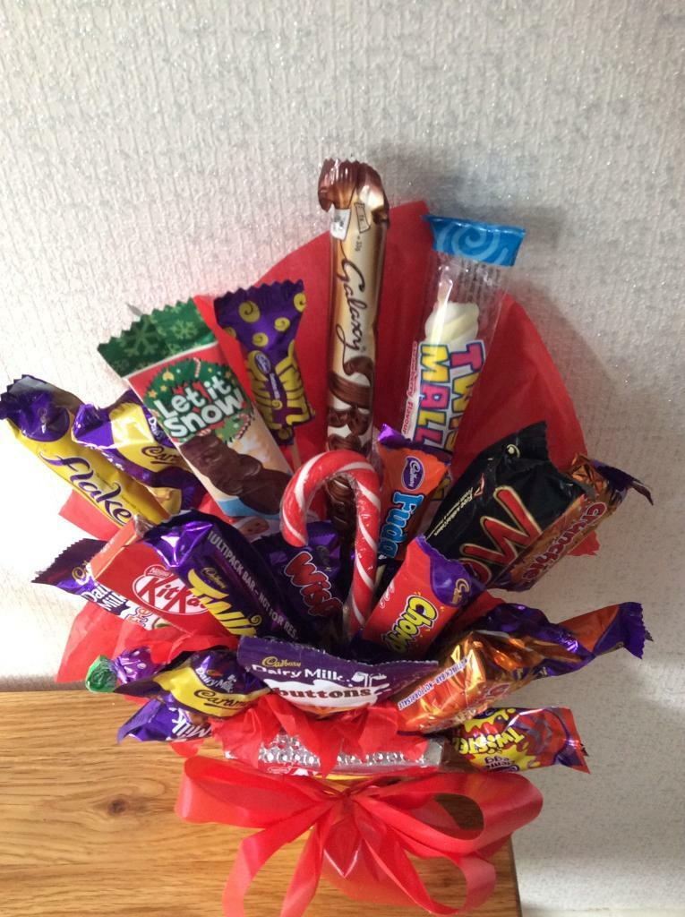 Xmas mini mix chocolate & candy Bouquet £8.00. Quality ribbons bows and gift wrapping.