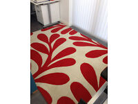 Red/White Rug 100% wool