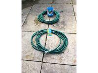 Green garden hoses 2 x 12 metres