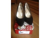 Black suede Perlato court shoes, worn once.