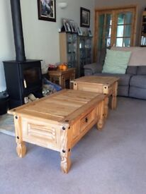 Coffee table and occasional table matching pine