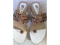 Flat ladies slippers with multicoloured diamantes. Size 6 uk size. Excellent condition.