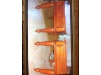 Yew side tables height 59cm, length 69cm width 58cm