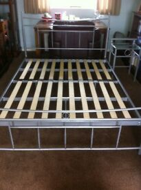 Metal Framed King Size Bed With Matching Bedside Table
