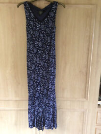 LAURA ASHLEY Vintage long lined SLEEVELESS dress SIZE svelte 14 1970s COLLECT OR POST UK