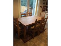 Dining room table & 6 chairs with cushions