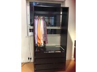 IKEA Pax open wardrobe with 3 drawers, a glass shelf and rail