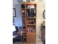 John Lewis CD Storage Cabinet and Seperate Shelving Unit with Cupboard Light Oak