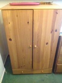 Children's pine wardrobe/tall boy excellent condition and solid