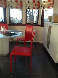 Four Red Leather Kitchen Chairs