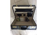 Briefcase - combination locks, black leather
