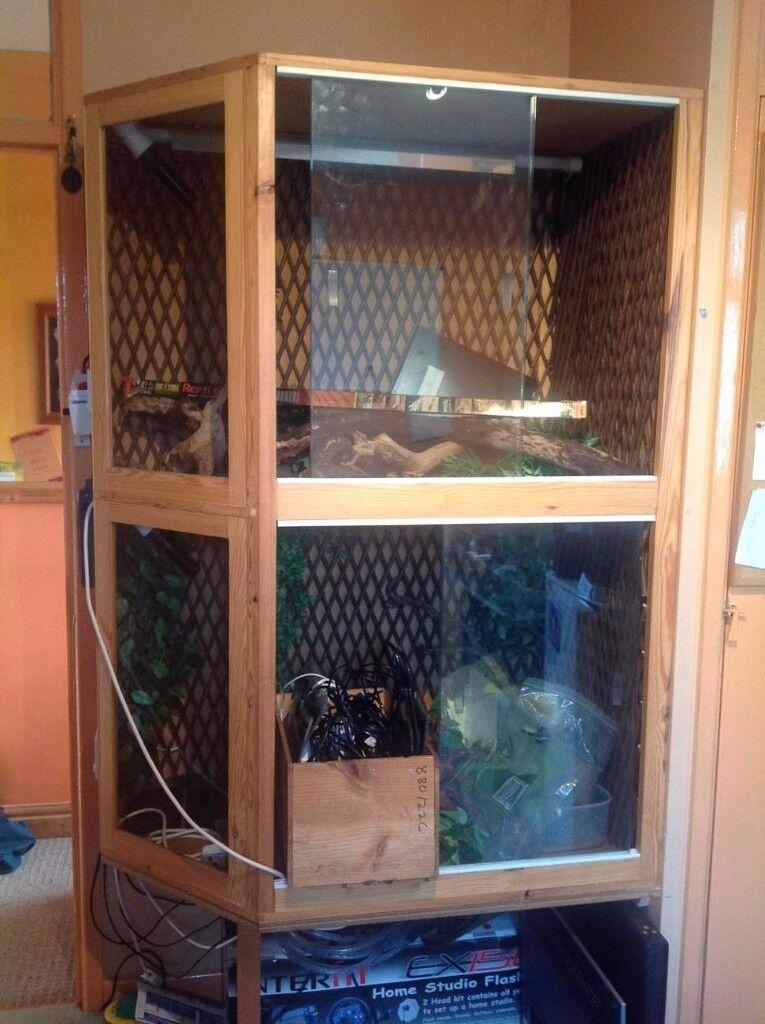 Dual Reptile Enclosure, Corner Unit, Pine Wood