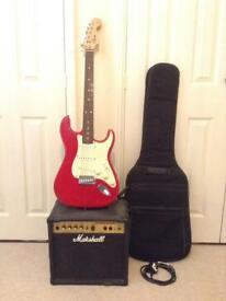 Electric guitar fender squire start and marshall vs15 amp and bag collection only