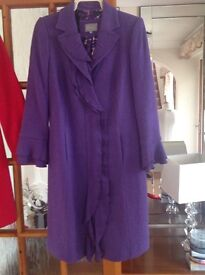 Used Per Una Size12 full length Lined Purple Coat