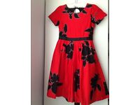 Girls red & black floral dress with black net underskirt Age 10 years - in good condition - £5