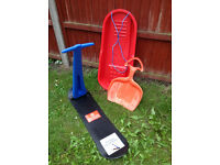 Snow scooter, sledge and 'snow slider' - all brand new!