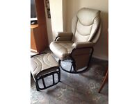 SWIVEL ROCKING, RECLINING CHAIR AND STOOL