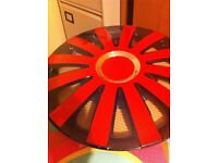 wheel trims 14 inch bright red and BRAND NEW/ see picture . red abd chrome and new