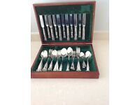 Silver plated cutlery in box. 44 pieces