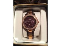 Ladies rose gold Fossil watch , still boxed