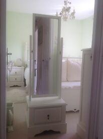 Tall cream bedroom mirror