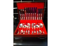 WOODEN BOXED SET SILVER CUTLERY