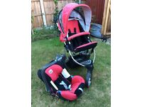Britax B Smart pushchair and car seat and Iso fix base