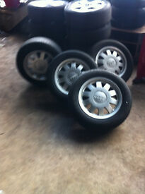 "Audi alloy wheels 5x112 15"" with part worn tyres £80 ONO"