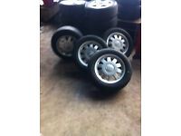 """Audi alloy wheels 5x112 15"""" with part worn tyres £80 ONO"""