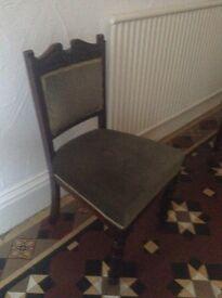 Four Edwardian dining chairs. Green velvet.