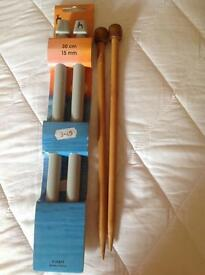 Knitting needles new! 10mm & 15mm