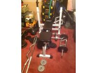 Weight training equipment and extras.