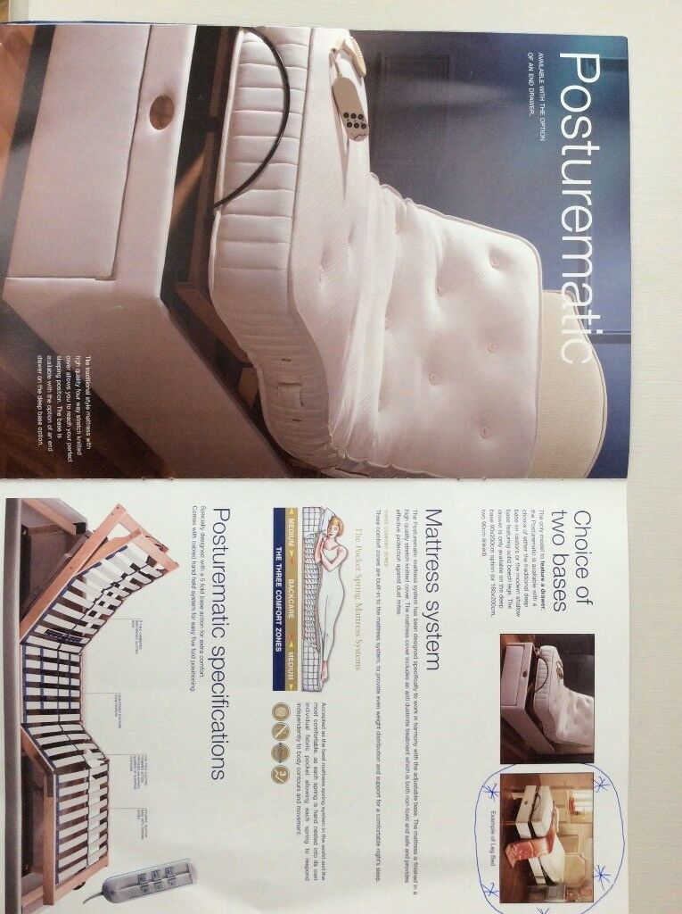 Single bed . Pocket spring electronically adjustable . Silent night brand.