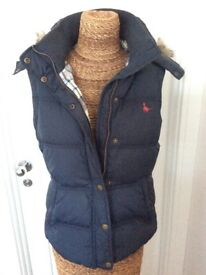 JACK WILLS NAVY GILET SIZE 10 £12
